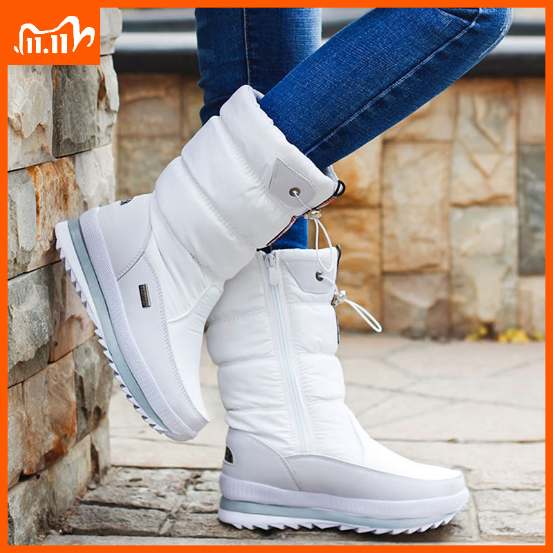Зимние женские ботинки на платформе, Детские Резиновые Нескользящие зимние ботинки, обувь для женщин, водонепроницаемая теплая зимняя обув...