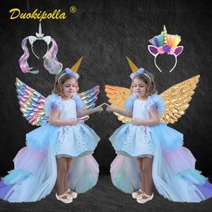 Детское платье с радужным единорогом и длинными хвостами, праздничное платье с крыльями ангела для девочек, костюм принцессы Lol, бальное пла...