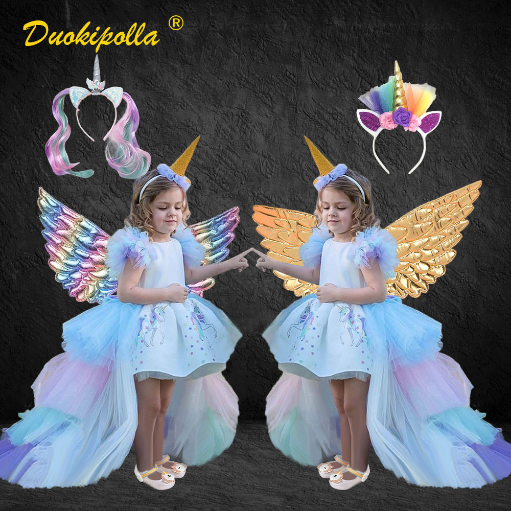 Kids Rainbow Unicorn Dress With Long Tails Angel Wings Party Dress For Girl Princess Costume Lol Ball Gown Baby Girls Pony Dress