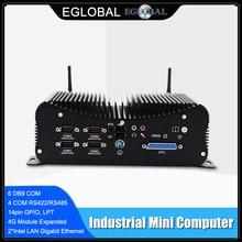 Almighty 7x24 Hours Industrial Fanless Mini PC Intel i5-8250U i7-6567U Rugged Computer 6*COM 2*Lans 8*USB GPIO LPT PS/2 4G WiFi