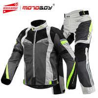 MOTOBOY Motorrad Jacke Sommer Atmungsaktiv Motorrad Reiten Anzüge Reflektierende Motocross Jacke Kleidung Mit CE Schutz Getriebe