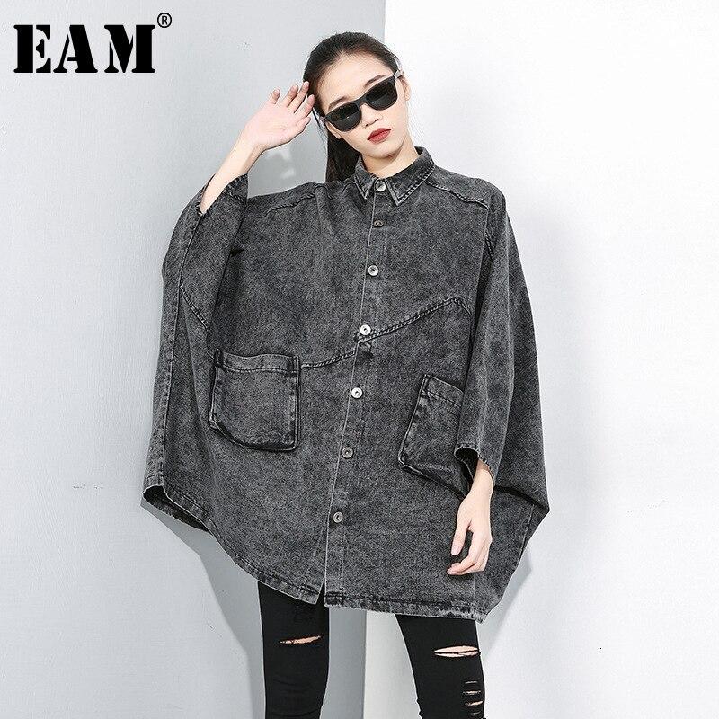[EAM] Women Black Denim Oversize Cloak Trench New Lapel Long Sleeve Loose Fit Windbreaker Fashion Tide Autumn Winter 2019 1D204