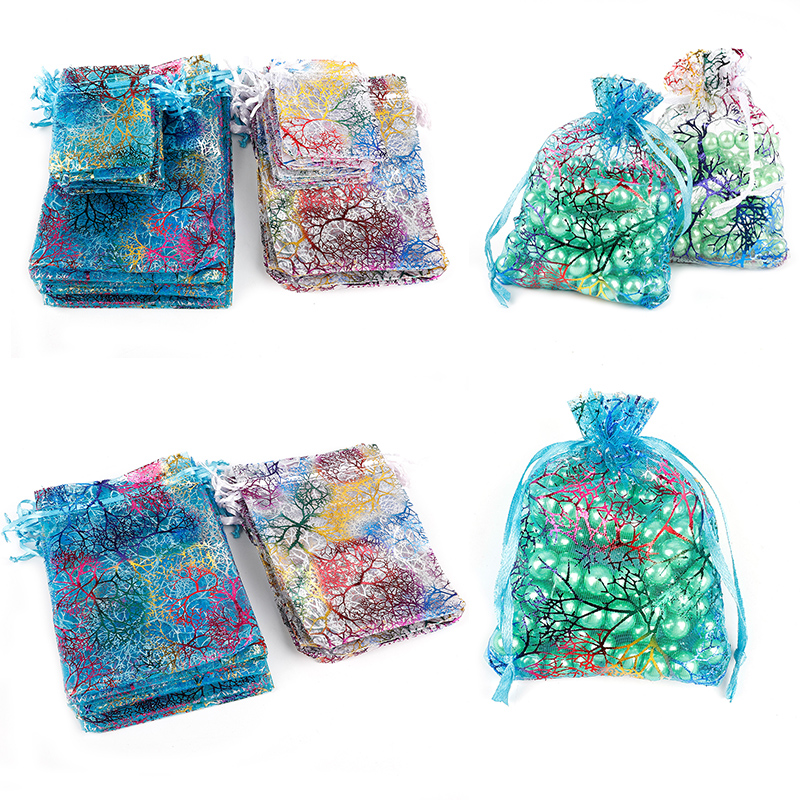 10pcs 4 Specifications Stretch Yarn Organza White And Colored Jewelry Bags Wedding Gift Bags Pretty Organza Jewelry Bags Selling