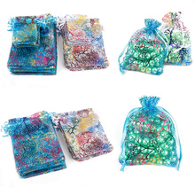 10pcs 4 specifications stretch yarn organza white and colored jewelry bags wedding gift pretty selling