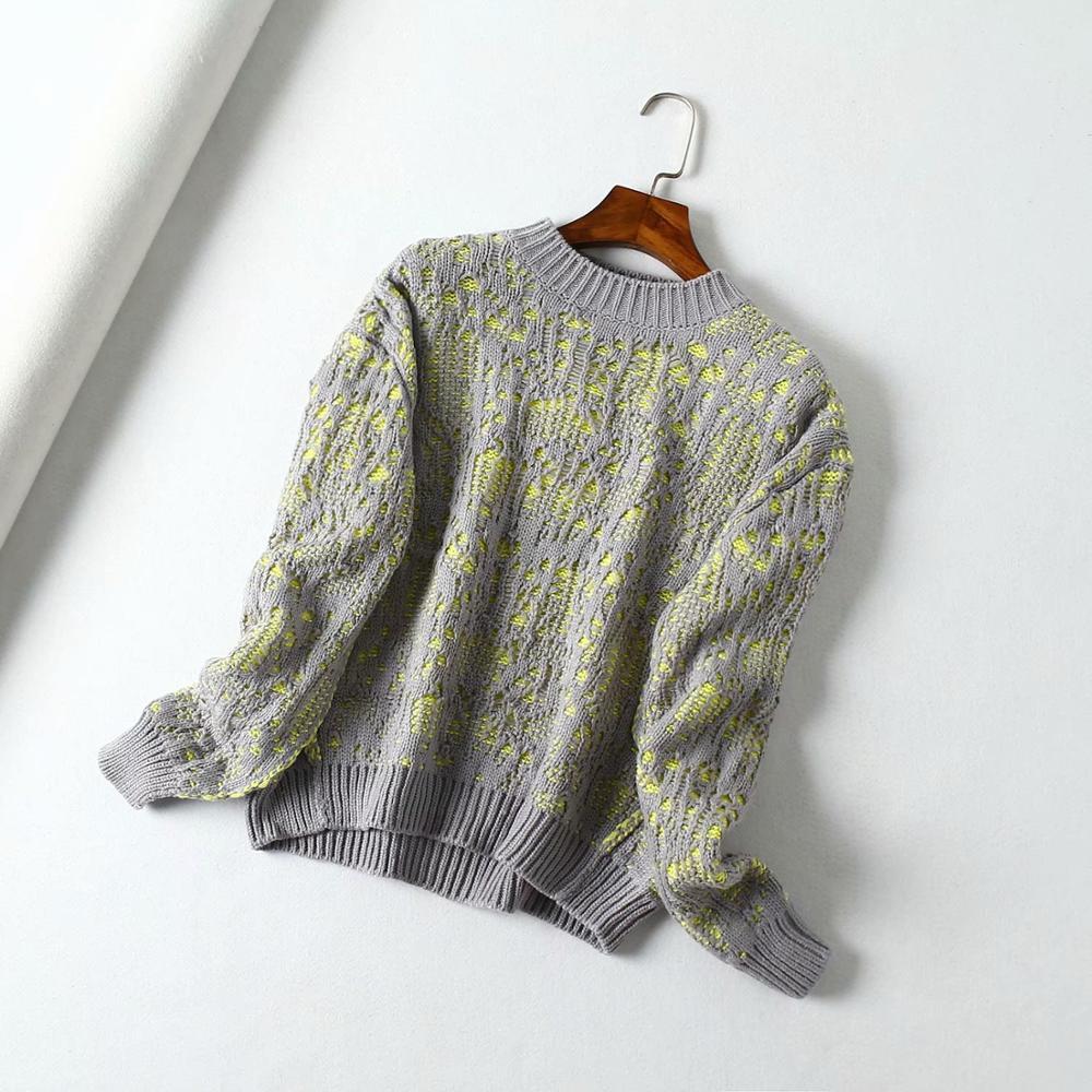 KIYUMI pull femmes pulls deux couleurs Crochet chandail manches longues haut à col rond décontracté 2019 nouveau automne hiver chaud gris chandail
