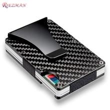 RIEZMAN Carbon Fiber Credit Card Holder RFID Non-scan Metal Wallet Purse  Male Business Card Holder Carteira Masculina Billetera