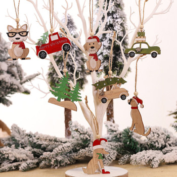 1PC Wooden Hanging Ornament Christmas Tree Ornaments Cabin Elk Car Ornament Xmas Tree Decorations For Home Navidad 2021 image
