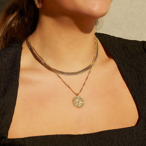2021 neue Mode Multilayer Gold Porträt Münze Anhänger Halskette für Frauen Punk Geometrische Runde Halskette Klumpige Choker Schmuck Kette Halsketten    -