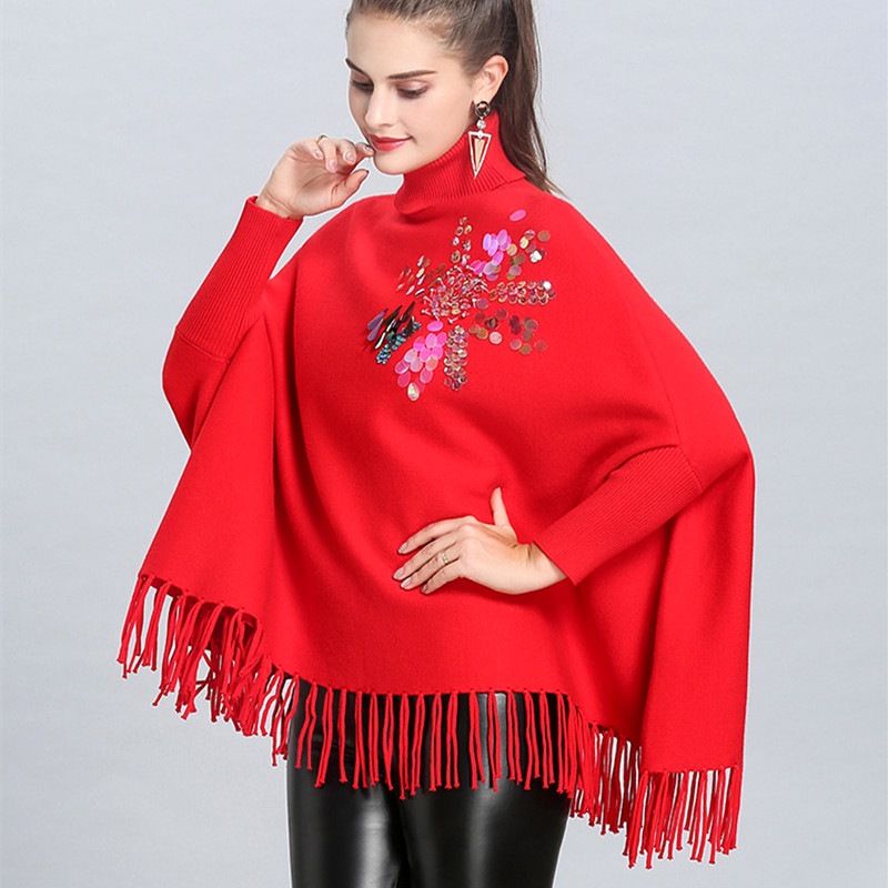 HAMALIEL Fashion Autumn Winter Knitted Tassel Loose Poncho Sweater And Pullovers Women's Turtleneck Sequined Cloak Warm Clothing