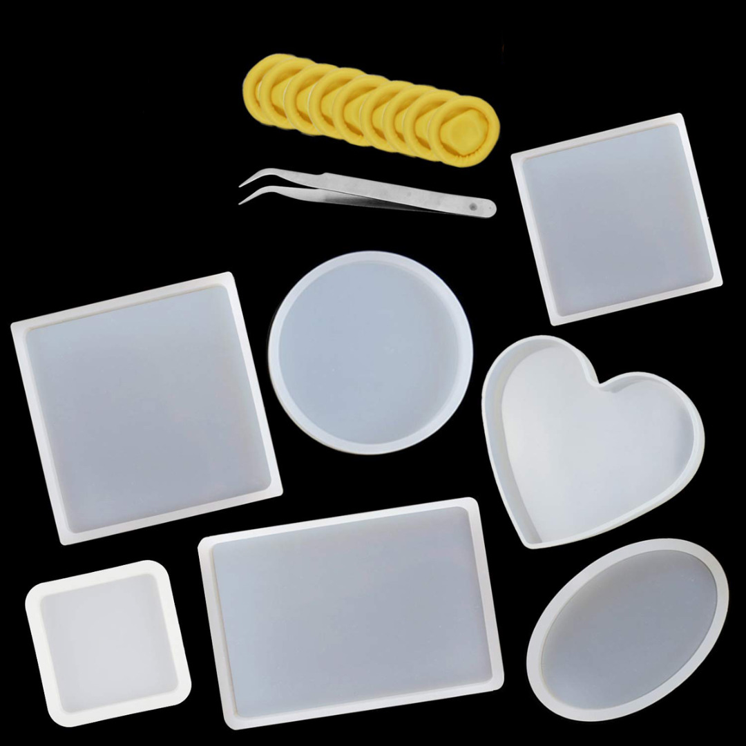 18Pcs DIY Resin Casting Mold Set Silicone Coasters Resin Casting Molds  Home Hand Craft Decor Tool Supplies With Tweezer Finger