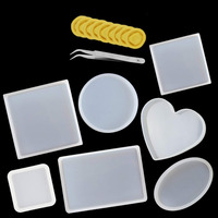 18Pcs DIY Resin Casting Mold Set Silicone Coasters Resin Casting Molds  Home Hand Craft Decor Tool Supplies With Tweezer Finger|Clay Molds| |  -