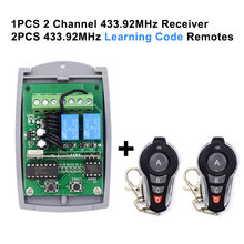 12 24V 433.92MHz fixed code & rolling code receiver garage door controller 2 channel garage door remote receiver 2x 1527 remotes