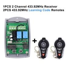 Receptor de código fijo y código rodante, controlador de puerta de garaje de 12 24V, 433,92 MHz, 2 canales, receptor remoto de puerta de garaje, 2x1527 mandos a distancia