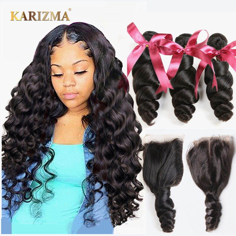 Karizma Brazilian Hair Weave Bundles With Closure Brazilian Loose Wave 3 Bundles With Closure Non Remy Human Hair With Closure