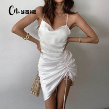 Sexy Dress Bandage Pleated Night-Club Party Women Summer Sleeveless CNYISHE Solid Streetwear-Outfits
