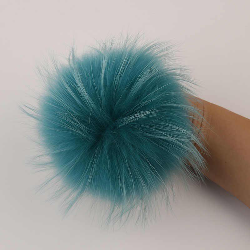 Dankeyisi Nyata Bulu Pompom 13-14 Cm DIY Sliver Fox Raccoon Fur Pom Pom Bola Bulu Alami Suruh Keputusan Pengaruh untuk topi Tas Aksesoris Sepatu