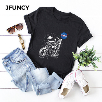 JFUNCY Women Summer T Shirt Oversize Female T-shirts Short Sleeve Cotton Woman Tshirt Fashion Astronaut Print Lady Tees Tops jfuncy cute avocado cat print oversize women loose tee tops 100% cotton summer t shirt woman shirts fashion kawaii mujer tshirt
