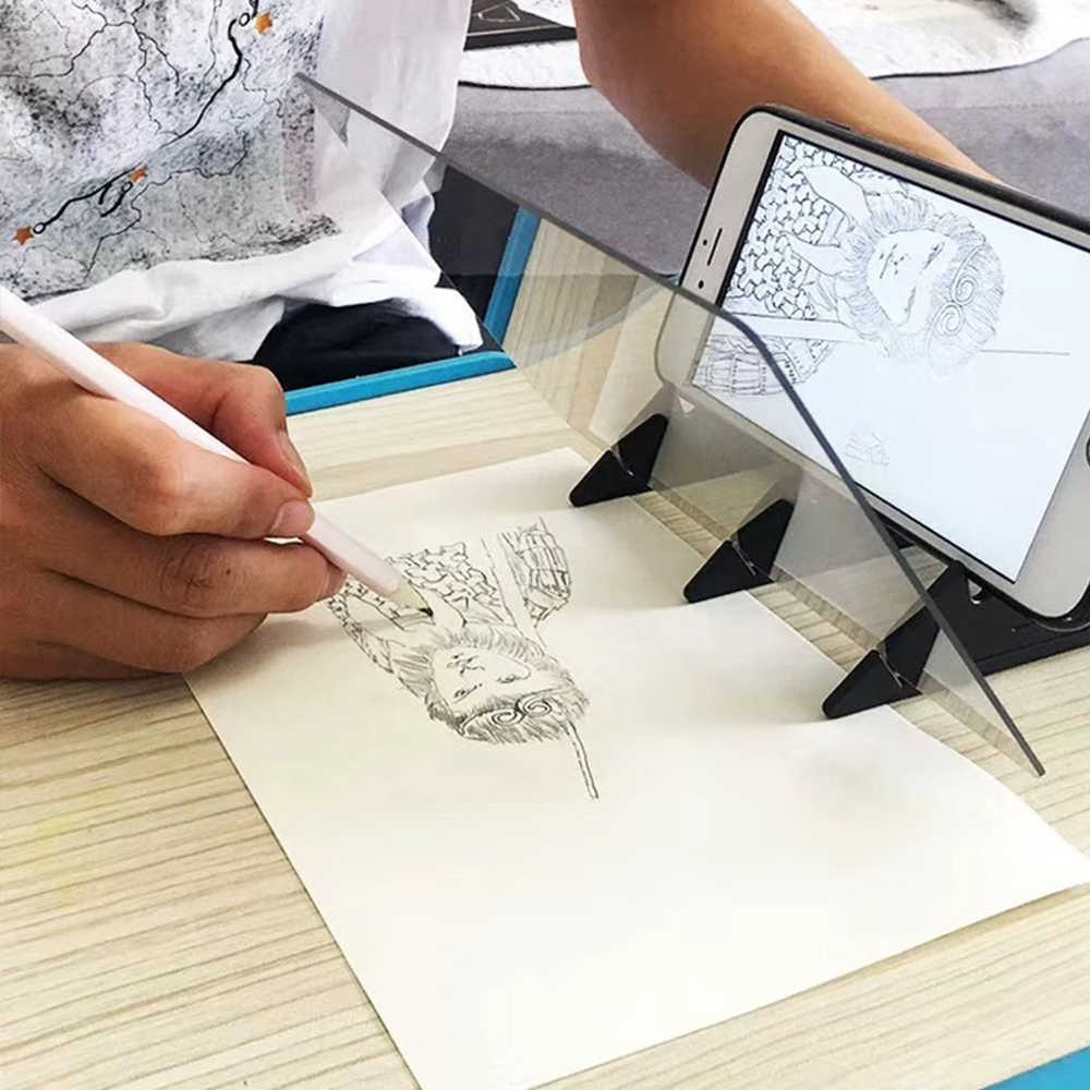 Optical Tracing Board Painting Copying Drawing Board Panel Reflection Projector Sketching Copy Pad Mirror Sketch Art Tool Toy for Students Artists Beginners