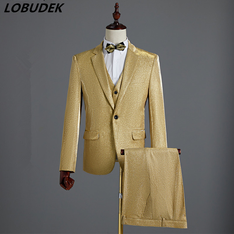 (Jacket+Vest+Pants) 3-Pieces Formal Men's Suits Gold Bright Silk Blazers Male Singer Prom Stage Show Suit Groom Wedding Dress