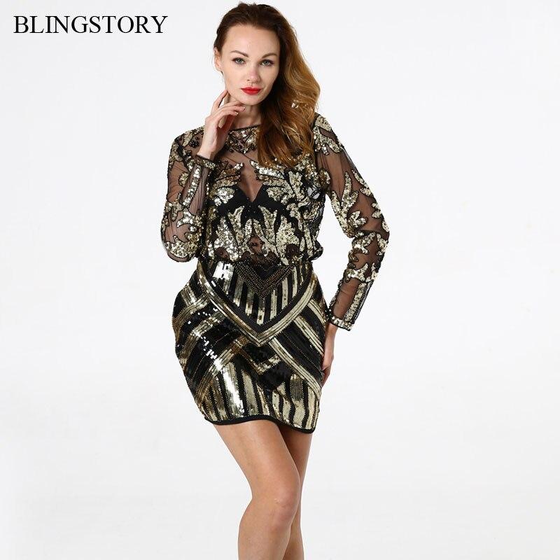 BLINGSTORY élégant Sequin perle maille à manches longues chemise Vintage diamant broderie embelli Blouse Top femmes chemises KR204