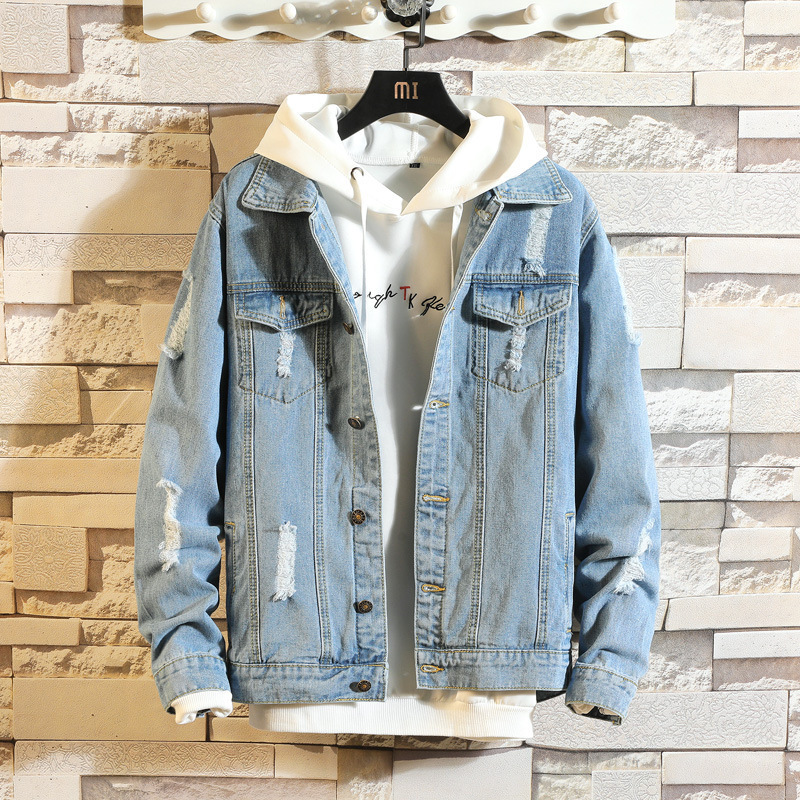 2020 Men's Casual Bomber Jacket Men's Hip Hop Retro Denim Jacket Street Style Men's Fashion Denim Jacket Casual Retro Jacket
