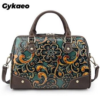 Retro Genuine Leather Women Handbags 2020 New Handmade Embossing Cowhide Luxury Female Shoulder & Crossbody Bags Designer Bags