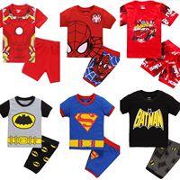 Детская одежда для мальчиков и девочек; пижамы для малышей; летний комплект с короткими рукавами с рисунком Человека-паука; милая детская од...