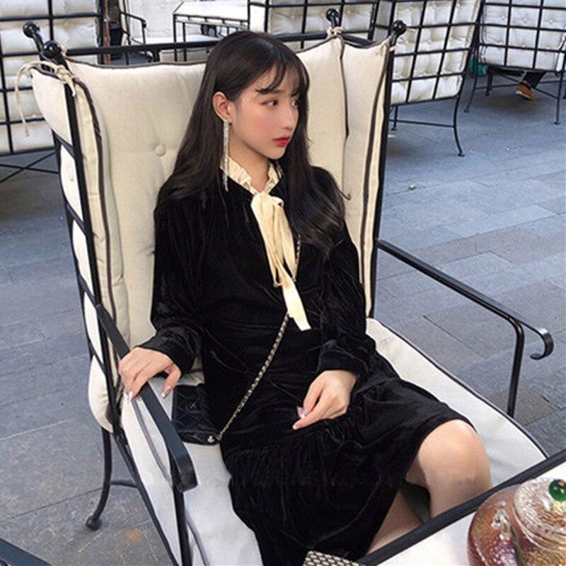Early Autumn New Style WOMEN'S Dress 2019 Early Autumn French Retro Online Celebrity Fashion Korean-style Long Sleeve Gold Velve