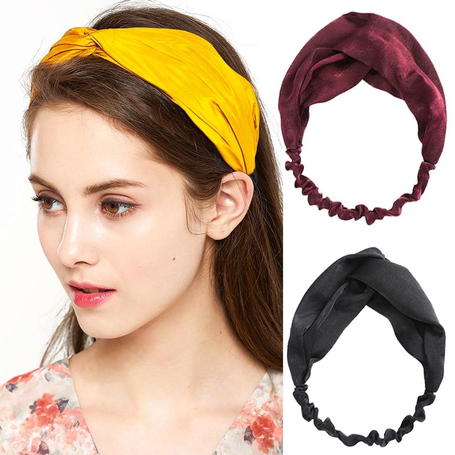 Haimeikang Women Fashion Hair Band 1PC Soft Knot Headband Noble Scrunchy Solid Color Turban Hairband Bandage Hair Accessories