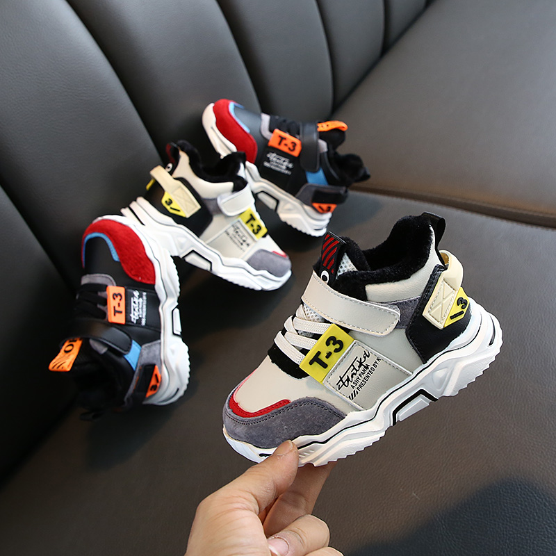 2019 Winter Children Running Shoes Leather Comfortable Sneakers Boys Girls Footwear Sport Shoes Kids Toddler Plus Fur Warm Boots