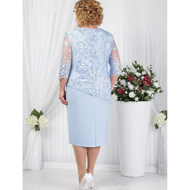 Plus Size Mother Of The Bride Dresses Half Sleeve Formal Wedding Party Gown Lace Patchwork robe mere de la mariee 2019 Onepiece 2