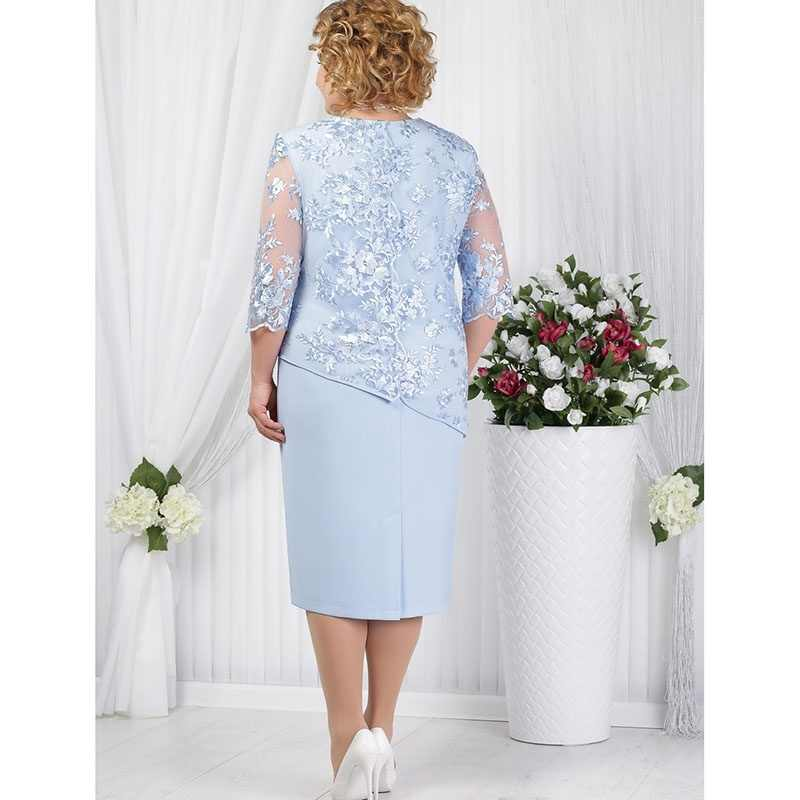 Vestidos de talla grande Madre de la novia media manga Formal vestido de fiesta de boda encaje Patchwork robe mere de la mariee 2019 una pieza