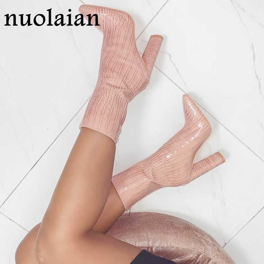 10.5CM Vòng Gót Mắt Cá Chân Giày Người Phụ Nữ Bộ Lông Mùa Đông Boot Nữ Nữ Xe Máy Nữ Chaussure Da Đế Giày
