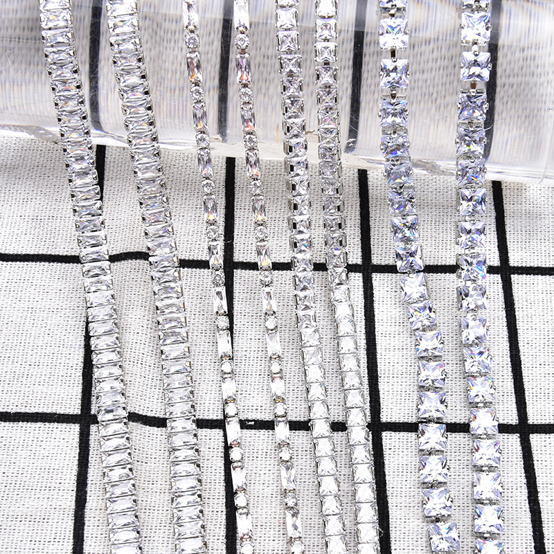 1 Meter Zircon Rhinestone Chain Bling Bling Rectangle Square Clear Zircon Stone Crystal Trims Sew On Clothes Necklace Decoration