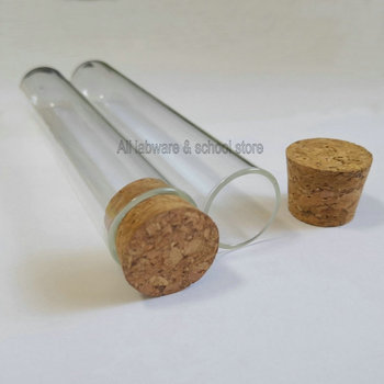 Free shipping lab 25x150mm glass round-bottom test tubes thickenss 1.5mm little container vial with cork - discount item  12% OFF Educational Equipment & Supplies