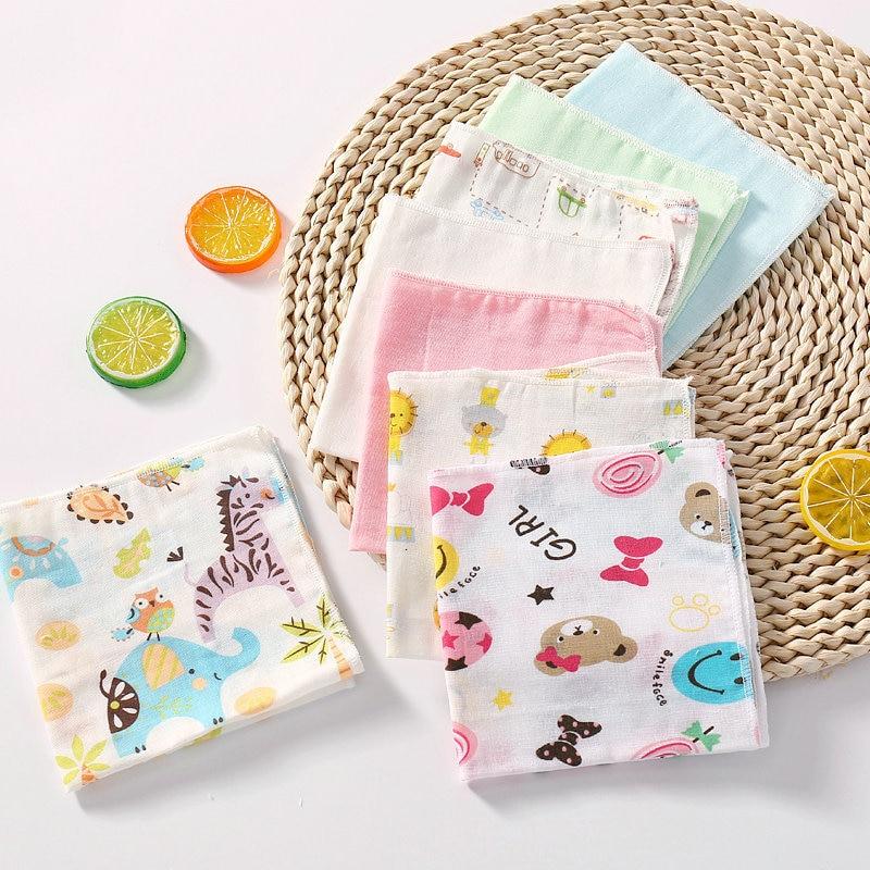 8pcs/lot Newborn Soft Baby Towels Bath Face Baby Double Gauze Square Towel Feeding Towel Cotton Handkerchief