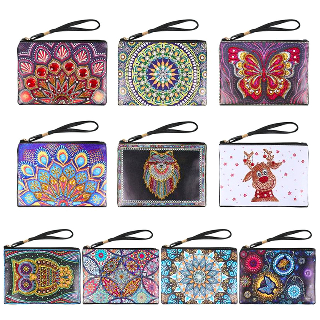 HUACAN 5D DIY Diamond Painting Wallet Women Special Shaped Diamond Embroidery Mandala Kit Handmade Gifts