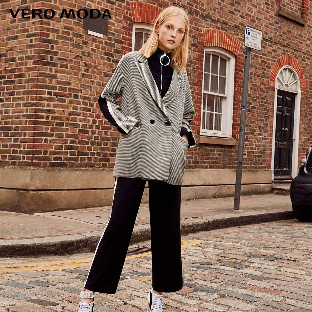 Vero Moda winter Streep Business Gebreide Houndstooth Jasje Plaid vrouwen Lange Blazer | 318308536