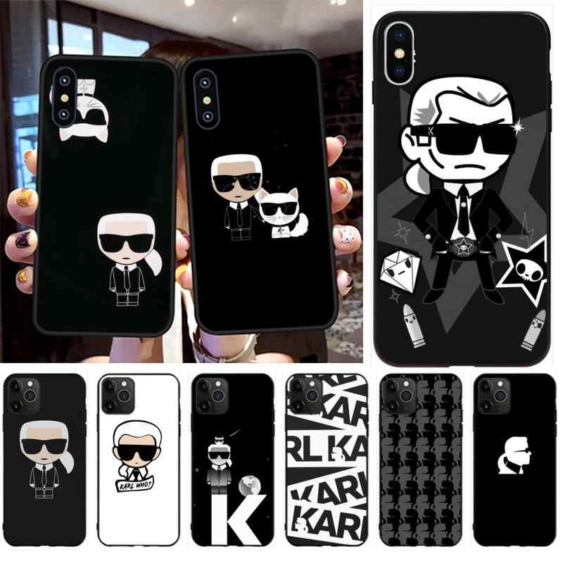 Lagerfeld Merk Designer Cartoon Karakter Telefoon Case Cover Shell Voor Iphone 11 Pro Xs Max 8 7 6 6S plus X 5S Se 2020 Xr Case