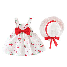 Baby girl fashion cherry wave point bow dress plus straw hat two-piece lunch break mini skirt clothes