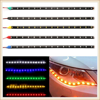 2pcs Car parts LED Strip Light Lamp Waterproof Flexible for BMW 760Li 320d 135i 335is Scooter Gran E36 F30 image