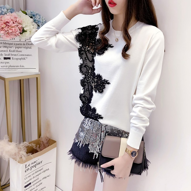 Chic Lace Patchwork Hollow Out Long Sleeve Womens Sweaters Korean Fashion New Loose Fit O-Neck Female Pullover Knitting Tops