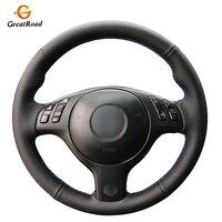 Hand stitched Black Genuine leather Car Steering Wheel Cover for BMW E46 E39 330i 540i 525i 530i 330Ci M3 2001