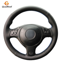 Hand stitched Black Genuine leather Car Steering Wheel Cover for BMW E46 E39 330i 540i 525i 530i 330Ci M3 2001
