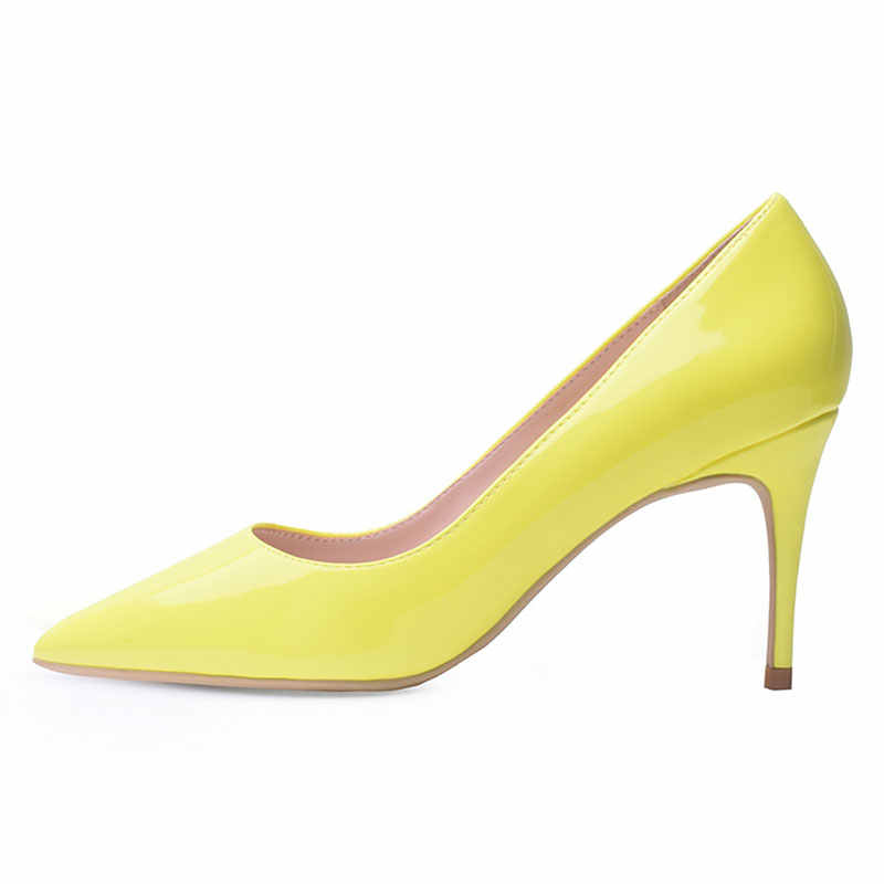 GENSHUO Scarpe di Marca 8 10 12 CENTIMETRI Tacchi Scarpe Da Donna Pompe A Spillo Neon Giallo Sexy Del Partito Scarpe Tacchi Alti Più Il formato Zapatos Mujer