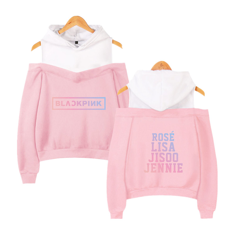 Blackpink Kpop Hoodies Sexy Off Shoulder Sweatshirts Women Team Member Oversized Sweatshirt Girl Group Black Pink Clothes