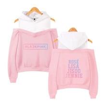 Blackpink Kpop Hoodies Sexy Off Shoulder Sweatshirts Women Team Member Oversized Sweatshirt Girl Group Black Pink Clothes