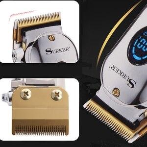 Image 5 - 전문 이발사 머리 깎기 남자 헤어 트리머 LCD 전기 머리 절단 기계 티타늄 블레이드 이발 usb 충전식