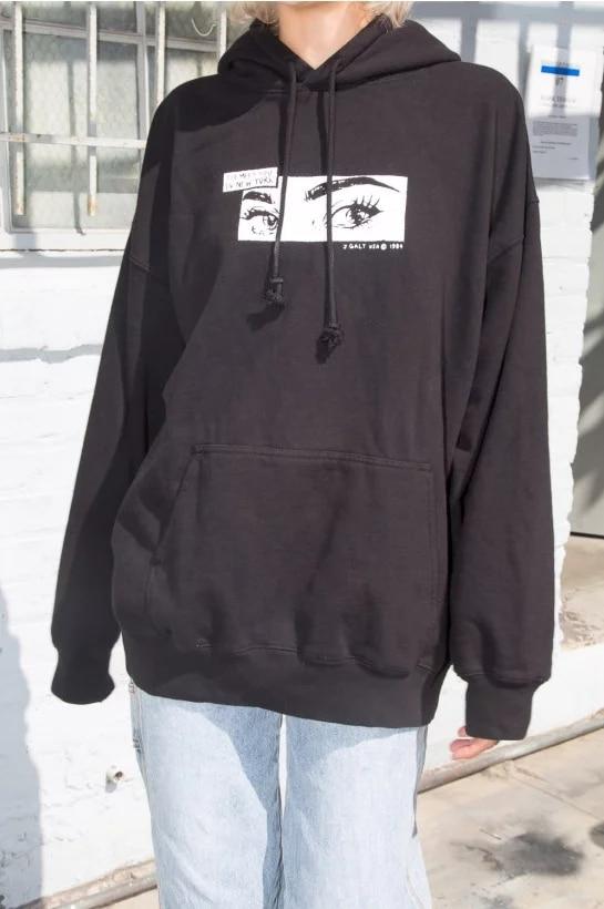 Women Eye Print Oversized Soft Hoodie With Kangaroo Pockets Print Hooded Sweatshirt