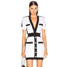 ADYCE 2020 새로운 여름 여성 붕대 드레스 Vestido 연예인 이브닝 드레스 섹시한 깊은 V 짧은 소매 미니 Bodycon 클럽 드레스